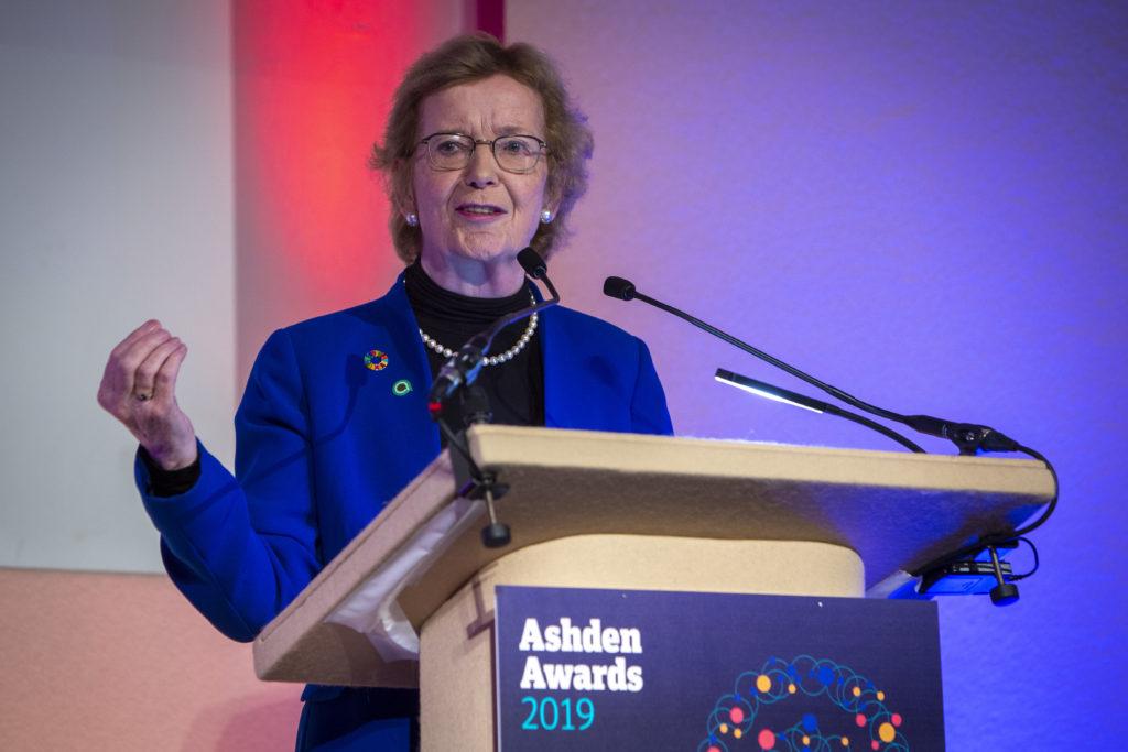 Mary Robinson speaking at 2019 Ashden Awards Ceremony