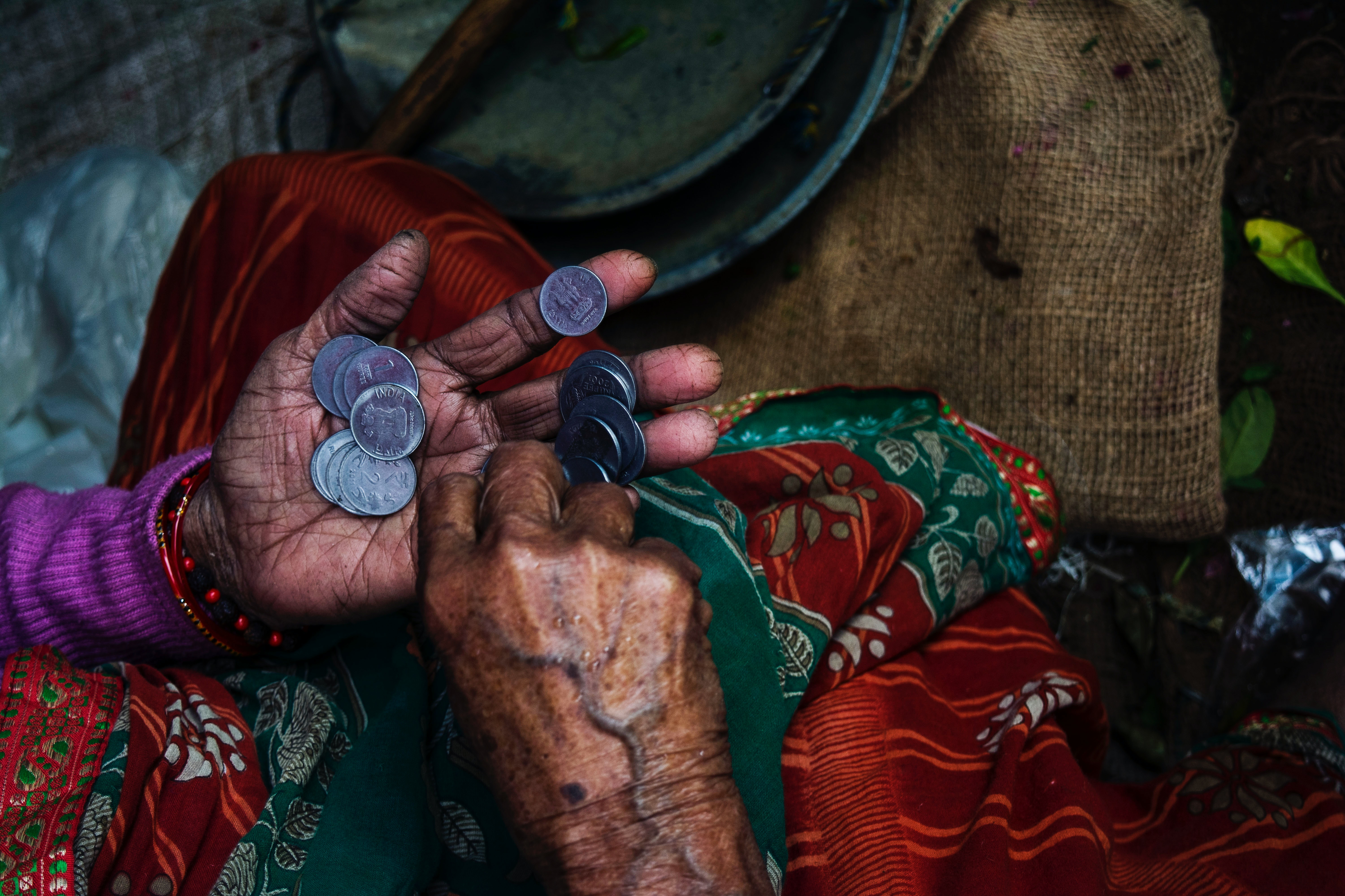 A lady counting coins
