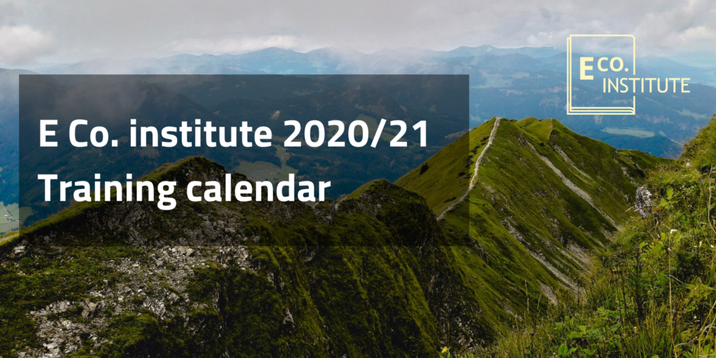 E Co. institute training calendar - 2020/21 - workshops, webinars & more